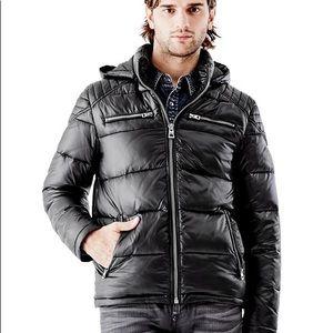 ed40b3f6b GUESS Atlas Hooded Puffer Jacket Coat Black Mens L